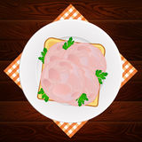 Plate ham parsley sandwich wooden background Royalty Free Stock Photo