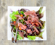 Plate of ham and salad Royalty Free Stock Photo