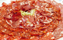 Plate of ham and spicy salami Royalty Free Stock Photography