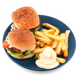 Plate with hamburgers Stock Images
