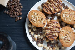 Plate of hazelnut and coffee cakes Stock Photo