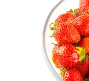 A Plate Of Health. Sunny Strawberries In Transparent Bowl (With Text Area Royalty Free Stock Photo