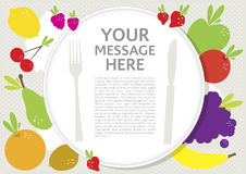 Plate with healthy fruits. Concept of healthy fruits on plate, , vector format Stock Photos