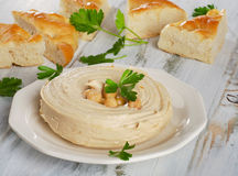 Plate of a Healthy Homemade Creamy Hummus. Stock Photos