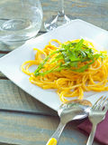Plate Of Healthy Pasta. Plate of delicious pasta topped with fresh herbs served ready for dining Stock Image