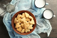 Plate with heart shaped butter cookies Royalty Free Stock Images