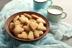 Plate with heart shaped butter cookies Royalty Free Stock Photography