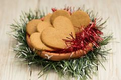 Heart shaped gingerbread cookies at Christmas royalty free stock image