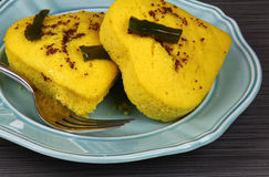 A plate of heart shaped lentil dhokla Royalty Free Stock Images