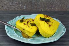 A plate of heart shaped lentil dhokla Royalty Free Stock Photo
