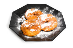 Plate with home baked Dutch appelflappen Royalty Free Stock Image