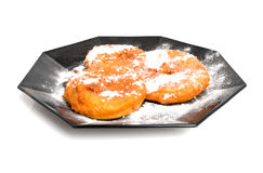 Plate with home bakes apple fritter Royalty Free Stock Photos