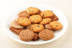 Plate of Home bakes raisin cookies Royalty Free Stock Image