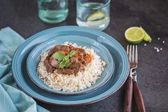 Beef stew on rice royalty free stock images