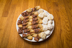 Plate of homemade christmas cookies Royalty Free Stock Photo
