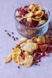 Plate of homemade muesli with cornflakes, freeze dried strawberry, walnuts, chocolate balls, pumpkin seeds Royalty Free Stock Photography