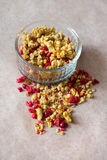 Plate of homemade muesli with cornflakes, freezedried cranberry, cashew, candied fruit, raisins. Stock Photos
