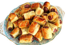 Plate of homemade sausage rolls royalty free stock photos