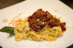 Tagliatelle with wild boar sauce stock photo