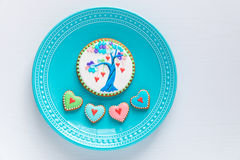 Plate of homemade Valentines cookies. Stock Image