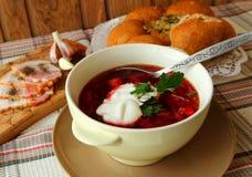 A plate of hot borscht Stock Photo