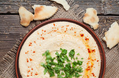 Plate of hummus, traditional lebanese food with Royalty Free Stock Photography