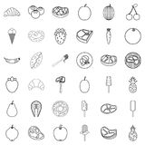 Plate icons set, outline style. Plate icons set. Outline style of 36 plate vector icons for web isolated on white background Royalty Free Stock Photo