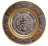 Plate with the image of dancing Shiva Royalty Free Stock Image