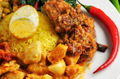 Plate of indonesian food Royalty Free Stock Images