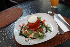Plate of insalata caprese Stock Photo