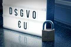 Plate with the inscription DSGVO EU General Data Protection Regulation in English GDPR General Data Protection Regulation with. A to the introduction of the royalty free stock photo
