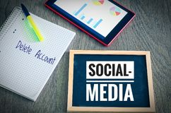 Plate with the inscription Social Media and Delete Account with a tablet and blockto to symbolize the data scandal.  stock images