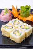 Plate of Inside out Sushi Stock Photography