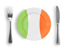 Plate in Italian colors for pizza pasta top view Stock Image