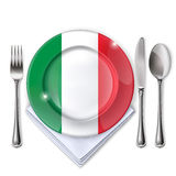 A plate with an Italian flag Stock Photography
