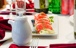 Plate of Italian mozzarella and tomato salad Royalty Free Stock Photography