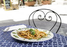 Plate with italian pasta Royalty Free Stock Photos