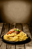 Plate of Italian spaghetti Bolognese Royalty Free Stock Photo