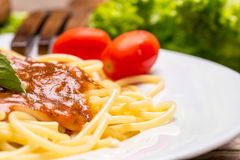 Plate of Italian spaghetti Stock Photos