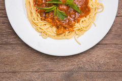Plate of Italian spaghetti Royalty Free Stock Image