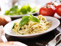 Plate of italian spaghetti with pesto sauce Royalty Free Stock Photography
