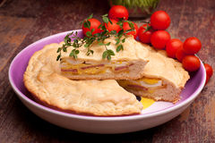 Plate With Italian Stuffed Pie Royalty Free Stock Image