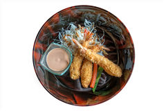 Plate of japanese deep fried tempura shrimps Stock Photography