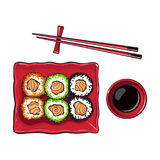 Plate of Japanese sushi, rolls, chosticks and soy sauce bowl. Top view hand drawn, sketch style vector illustration isolated on white background. Sushi serving stock illustration