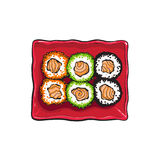 Plate of Japanese sushi, rolls, sketch style vector illustration Stock Images