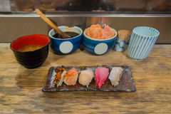 A plate of Japanese Sushi Set. With a bowl of  Miso Soup Stock Images