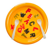 Plate of jelly alphabets Royalty Free Stock Photography