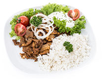 Plate with Kebab and Rice on white Stock Photos