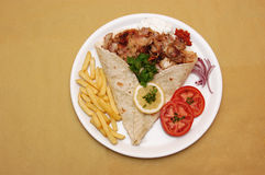 Plate with kebab sandwich Stock Image