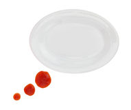 Plate with ketchup stains Royalty Free Stock Photo